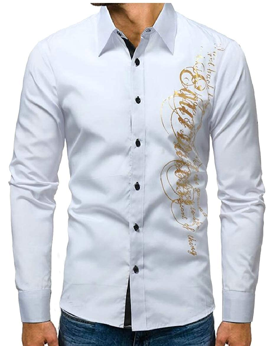 Smeiling Mens Casual Slim Long Sleeve Letter Print Button-Down Dress Shirt