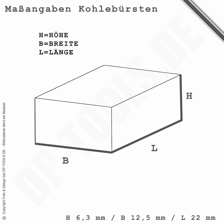 Kohleb/ürsten Kohlen Motorkohlen f/ür Bosch Bohrmaschine 6,3x12,5x22 3607014012