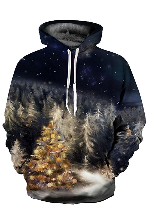 Kisscy Unisex Winter Fall 3D Printed Pouch Pocket Drawstring Hooded Sweatshirt Hoodies