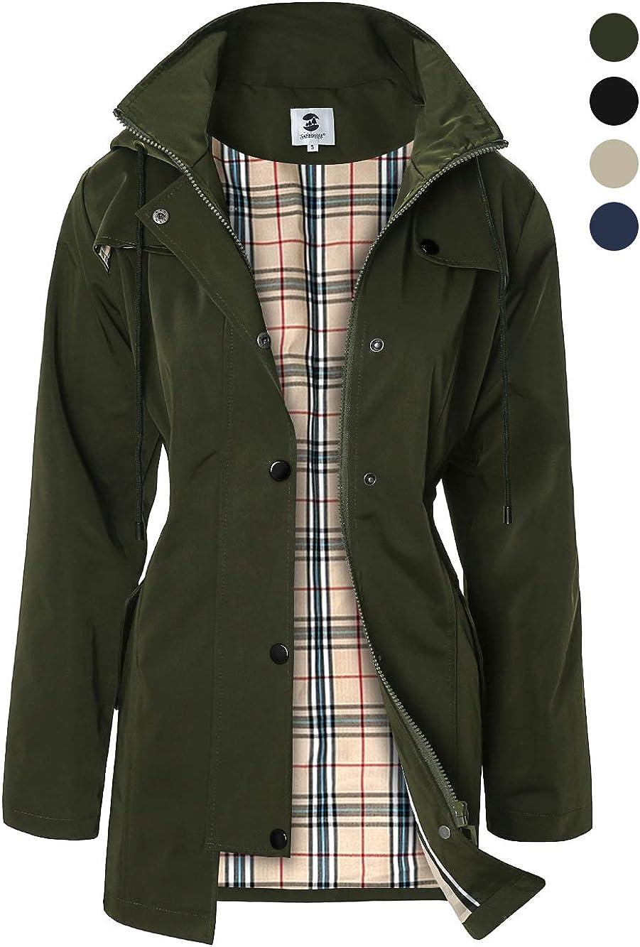Summer Mae Womens Long Hooded Rain Jacket Outdoor Raincoat Windbreaker