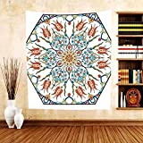 Gzhihine Custom tapestry Antique Decor Collection Ottoman Turkish Floral Pattern with Tulips Medieval Baroque Effect on Dated Islamic Art Print Bedroom Living Room Dorm Tapestry Multi