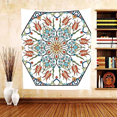 Gzhihine Custom tapestry Antique Decor Collection Ottoman Turkish Floral Pattern with Tulips Medieval Baroque Effect on Dated Islamic Art Print Bedroom Living Room Dorm Tapestry Multi by Gzhihine