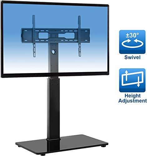 Universal Floor TV Stand Base with Swivel Mount for Most 32-65 inch LCD LED TVs,TV Mount Stand for Home and Office,Height Adjustable Cable Management,Black