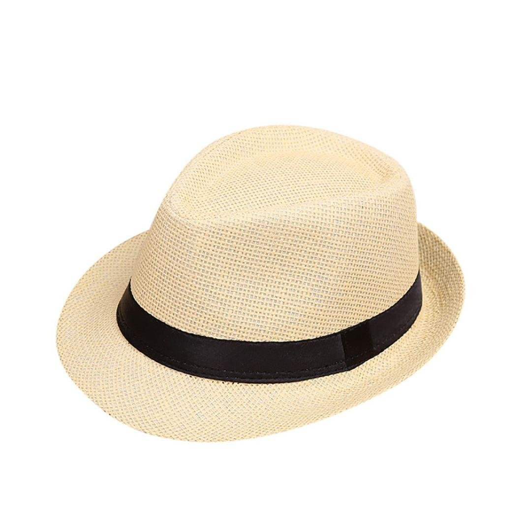 Kaicran Kids Hat,Children Kids Linen Beach Straw Hat Jazz Panama Trilby Fedoras Hat Gangster Cool Cap (E)