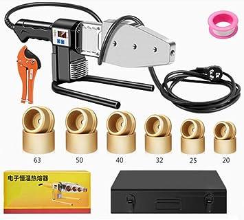 1000W Soldador de Tuberia Plastica,220V/50Hz,20-63mm,Dual Disipacion de Calor,Cable de Anti-Quemadura,Polifusor Kit de Temperatura Ajustable para PP-R/PE/PB ...