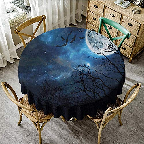 DONEECKL Dust-Proof Tablecloth Halloween Bats Flying in Majestic Night Sky Moon Nebula Mystery Leafless Trees Forest Table Decoration D67 Blue Black White -