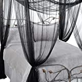 Black Sheer Bed Canopy 4 Corner Four Poster Bed Mosquito Net Romantic Bedroom Decor