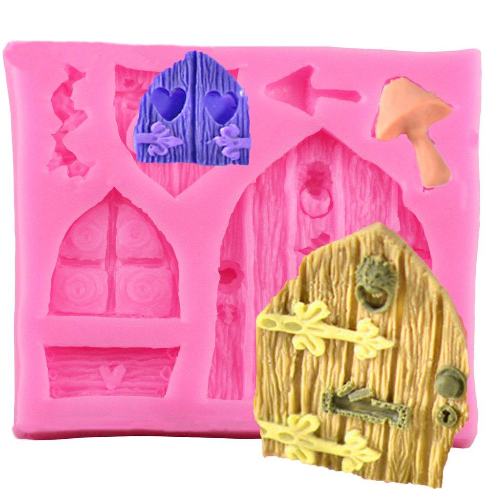 Qinlee Holzt/üren und Fenster Silikon-Form zum Backen und Basteln f/ür Kuchen Muffins handgefertigte Seife Kekse Schokolade Fondant DIY Mould Kekse Backwerkzeuge