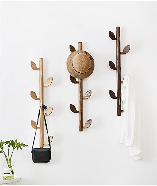 Amazon.com: LAXF-Wall Coat Racks with Hooks/Solid Wood Coat Rack Wall Hanging Wooden Hanger Hall Entrance Living Room Clothes Hook 9 Hook (Color : Brown): ...