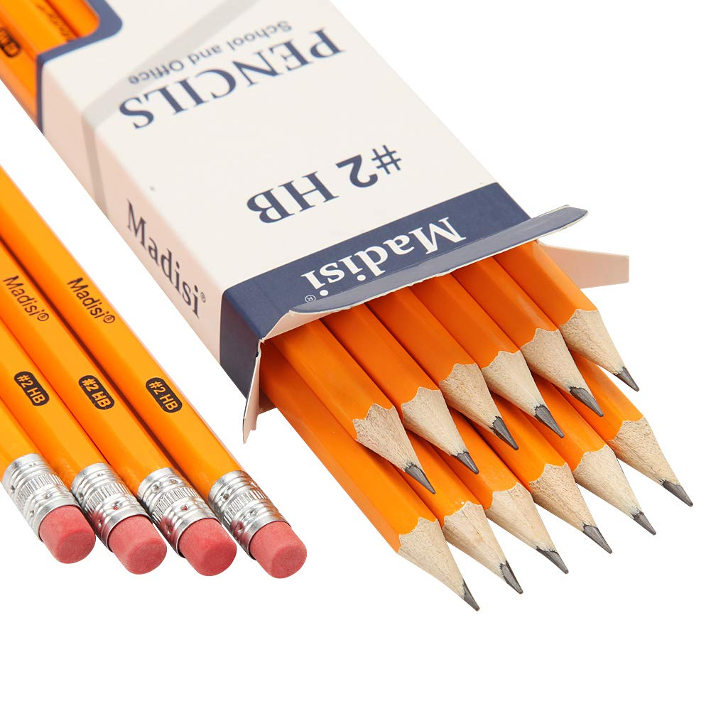 Wood-Cased #2 HB Pencils, Yellow, Pre-sharpened, 16 Packs of 12-Count, 192 pencils in box by Madisi by Madisi (Image #2)