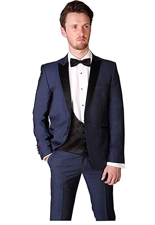 Mens One Button Navy Blue Peak Lapel Wedding Suits Slim Fit ...