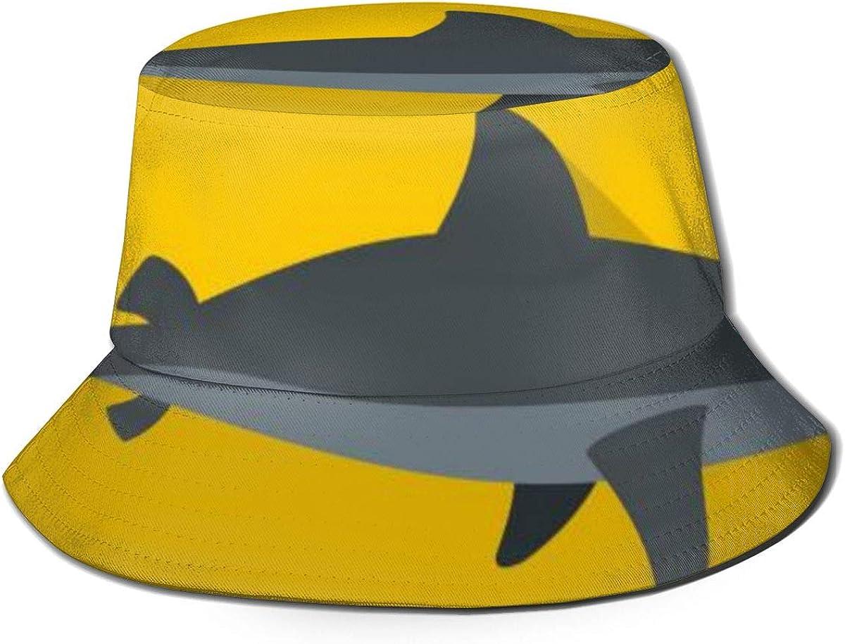 Sun Caps Grey Shark Fish Icon Flat Style Men Women Summer Bucket Hat, Unisex Adults Fishing Fisher Beach