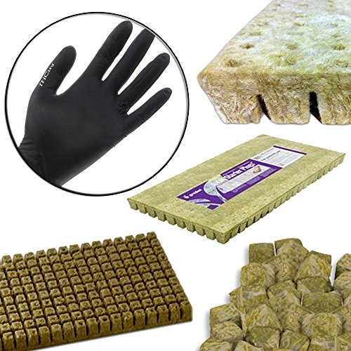 "Grodan A-OK 1""x1"" Sheet of 50 Rockwool / Stonewool Starter Cubes for Cuttings, Cloning, Plant Propagation, and Seed Starting + THCity Gloves"