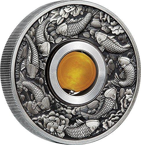 2018 TV Modern Commemorative PowerCoin GOOD LUCK ROTATING CHARM Topaz 1 Oz Silver Coin 1 Tuvalu 2018 Antique (Topaz Coin)