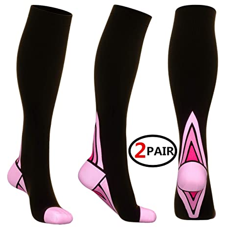 2 pairs of ladies running compression socks a