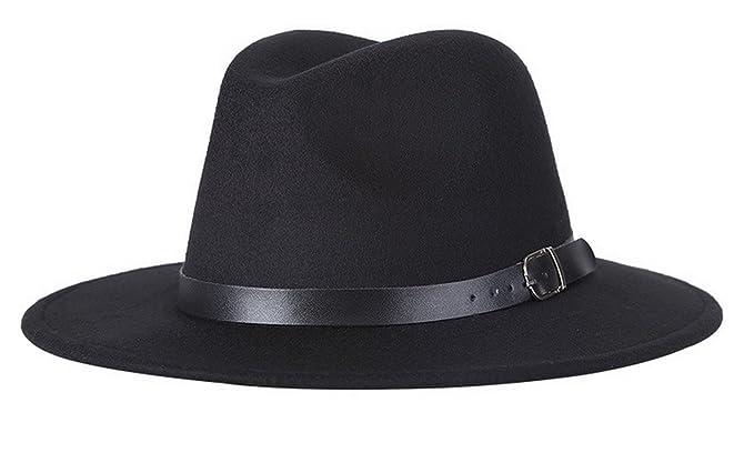 e10a28275ff Adult Women Men Wool Blend Fedora Hat Solid Trilby Caps Panama Hat with  Belt Black