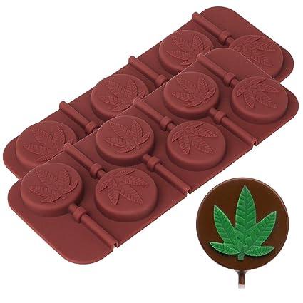Bandeja de moldes para caramelos y piruletas con forma de hoja de marihuana. Juego de