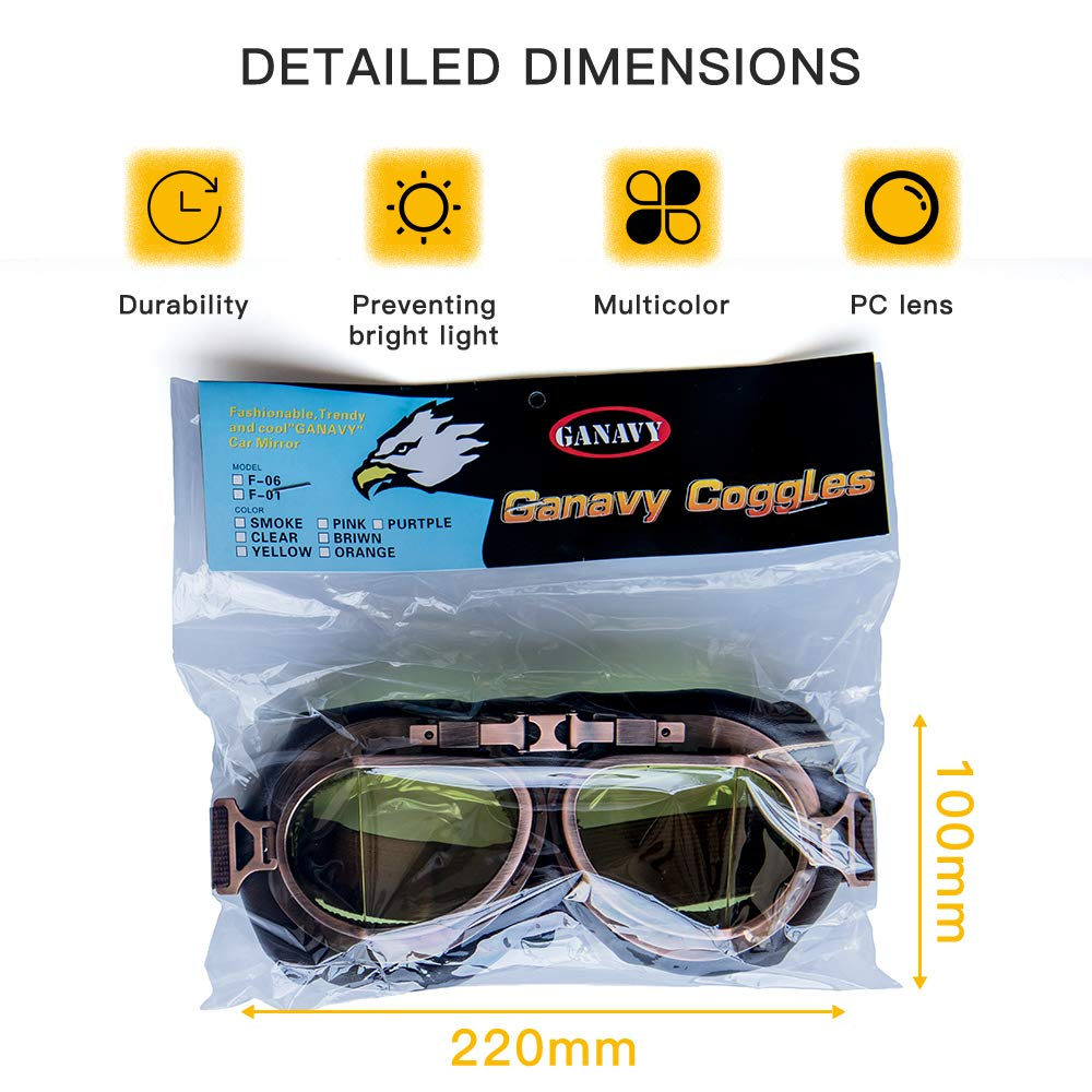 Vintage Helmet Goggles,Steampunk Sunglass Eyewear Pilot Aviator Goggles Suitable for Fancy Dress Harley Motocross Racer Outdoor Sports and Skiing Brown Lens