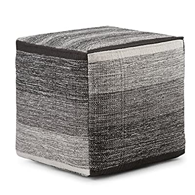 Simpli Home AXCPF-05 Naya Transitional Cube Pouf in Patterned Grey Melange Cotton