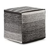 Simpli Home Naya Cube Pouf, Patterned Grey Melange