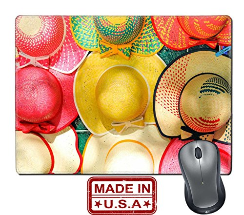 "Liili Natural Rubber Mouse Pad/Mat with Stitched Edges 9.8"" x 7.9"" Colorful Handmade Hats by the yucatan mayans descendants IMAGE ID 18998225"