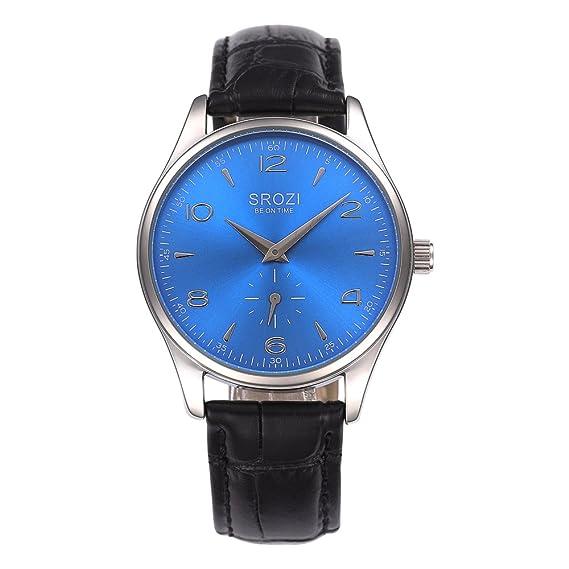 El mundo de la moda reloj de los hombres SROZI esfera azul de piel de color ...