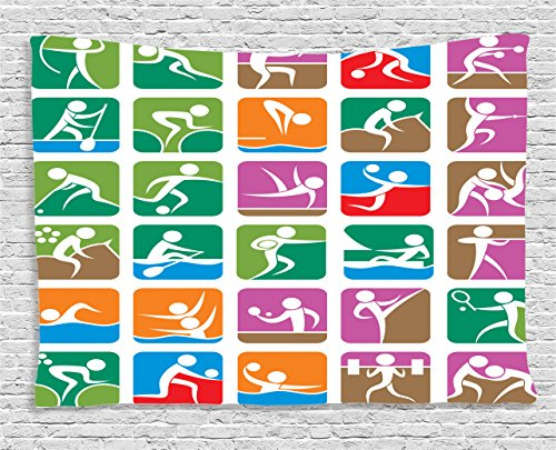Ambesonne Olympics Decorations Collection, Pictograms of the