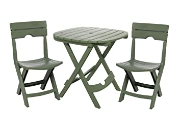 Adams Manufacturing 8590 01 3731 Quik Fold Cafe Bistro Set, Sage