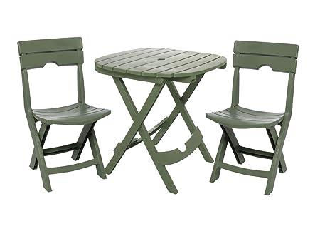 Adams Manufacturing 8590-01-3731 Quik-Fold Cafe Bistro Set, Sage