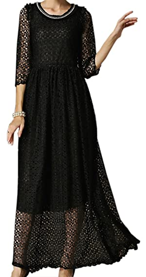 EkarLam Women's Spring & Fall Lace Chic Solid Slim Evening Party Maxi Dress S Black