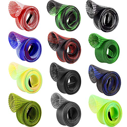 Thyores 12 Pieces Fishing Rod Cover, Fishing Rod Sleeve Protector Cover Rod Sleeve Sock Fishing Tools for Fly, Spinning, Casting, Sea Fishing Rod