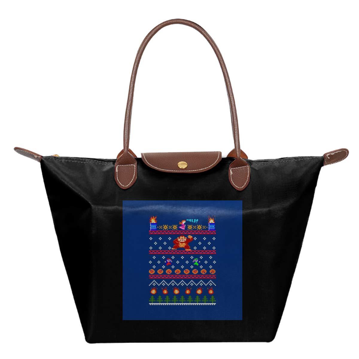 Donkey Kong Christmas Knit Pattern Waterproof Leather Folded Messenger Nylon Bag Travel Tote Hopping Folding School Handbags