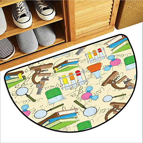 TableCovers&Home Welcome Front Mat, Kids Indoor Out-Imdoor Rugs for Kitchen, Science Education Lab Sketch Books Equation Loupe Microscope Molecule Flask Print (Multicolor, H24 x D36 - Flask Titan