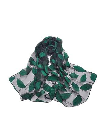 Letuwj Femme Foulard tissu transparent de dessin fleur ou feuille Gris  Taille Unique 6a2de1d7744