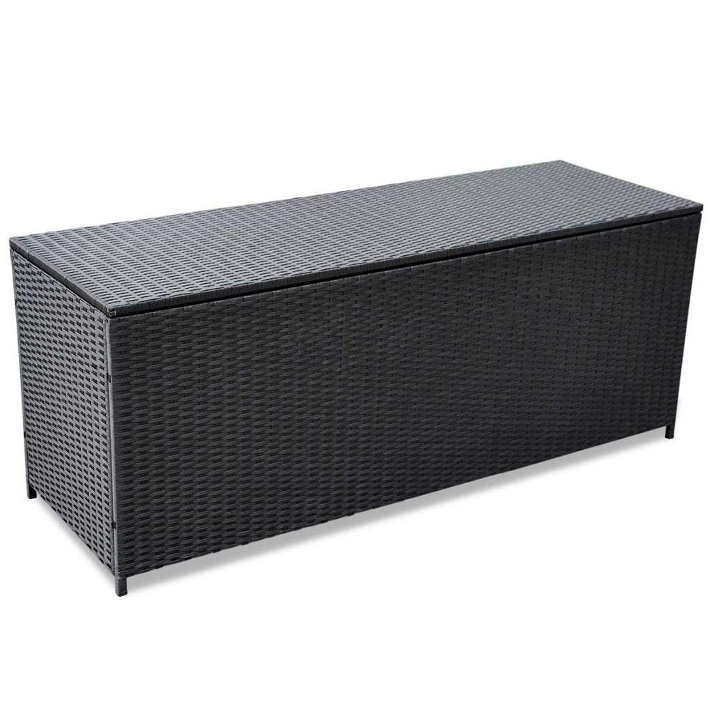 WWHZ Outdoor Storage Box Poly Rattan Black Entryway Chest Bench Organizer by WWHZ