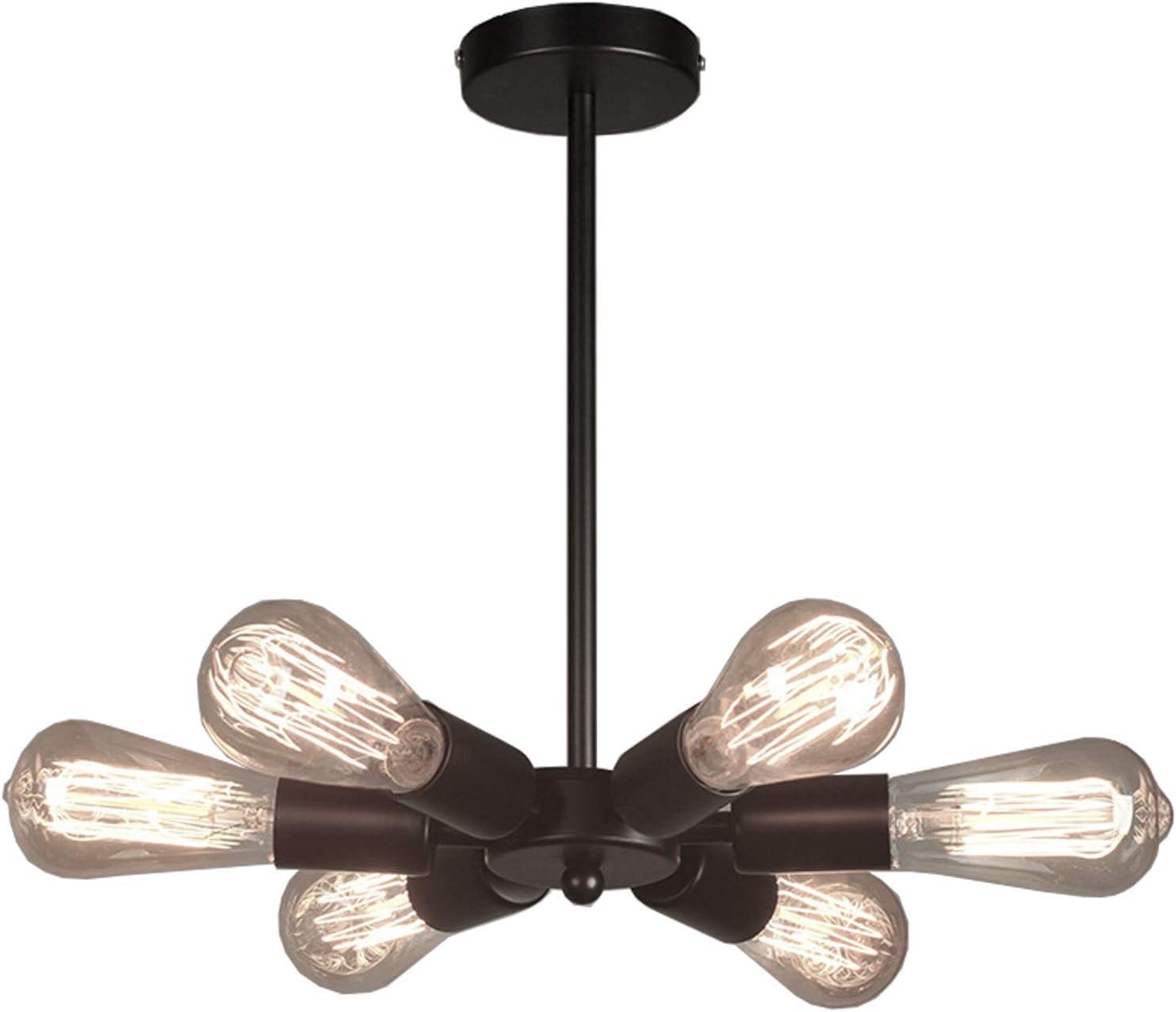 hoxiya matte black modern sputnik chandelier 6 lights ceiling pendant lights midcentury industrial lighting fixture for dining room bedroom bar