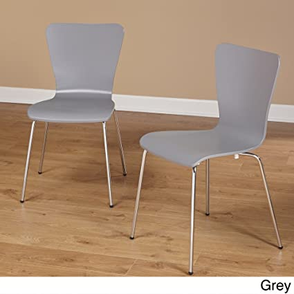 Simple Living Pisa Bentwood Stackable Dining Kitchen Chairs (Set Of 2)  (gray)