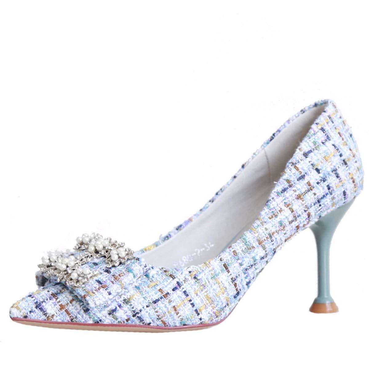 KPHY Damenschuhe/Herbst Bogen Bohrer Spitz Kleine Frische Damenschuhe 7Cm Dünne Sohle 7Cm Damenschuhe Hohen Ferse Schuhe Flachen Mund Pearl Schuhe.36 Pink  - 0b39e6
