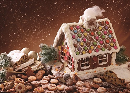 (Leowefowa 7X5FT Vinyl Photography Backdrop Christmas Gingerbread House Green Pine Twigs Bokeh Halos Glitter Sequins Winter Cartoon Xmas Background Baby Kids Lover Photo Studio Props)
