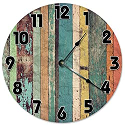 YELLOW GREEN ORANGE WOOD Unique Clock Large 10.5 Wall Clock Decorative Round Wall Clock Home Decor PRINTED WOOD RUSTIC CABIN COUNTRY