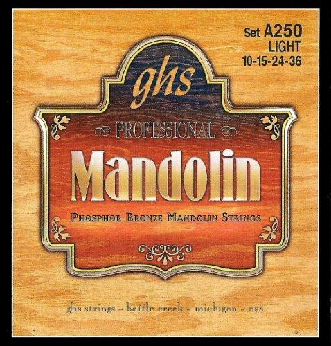 GHS Strings A250 Phosphor Bronze Mandolin Strings, Loop End, Light - Loop End Light