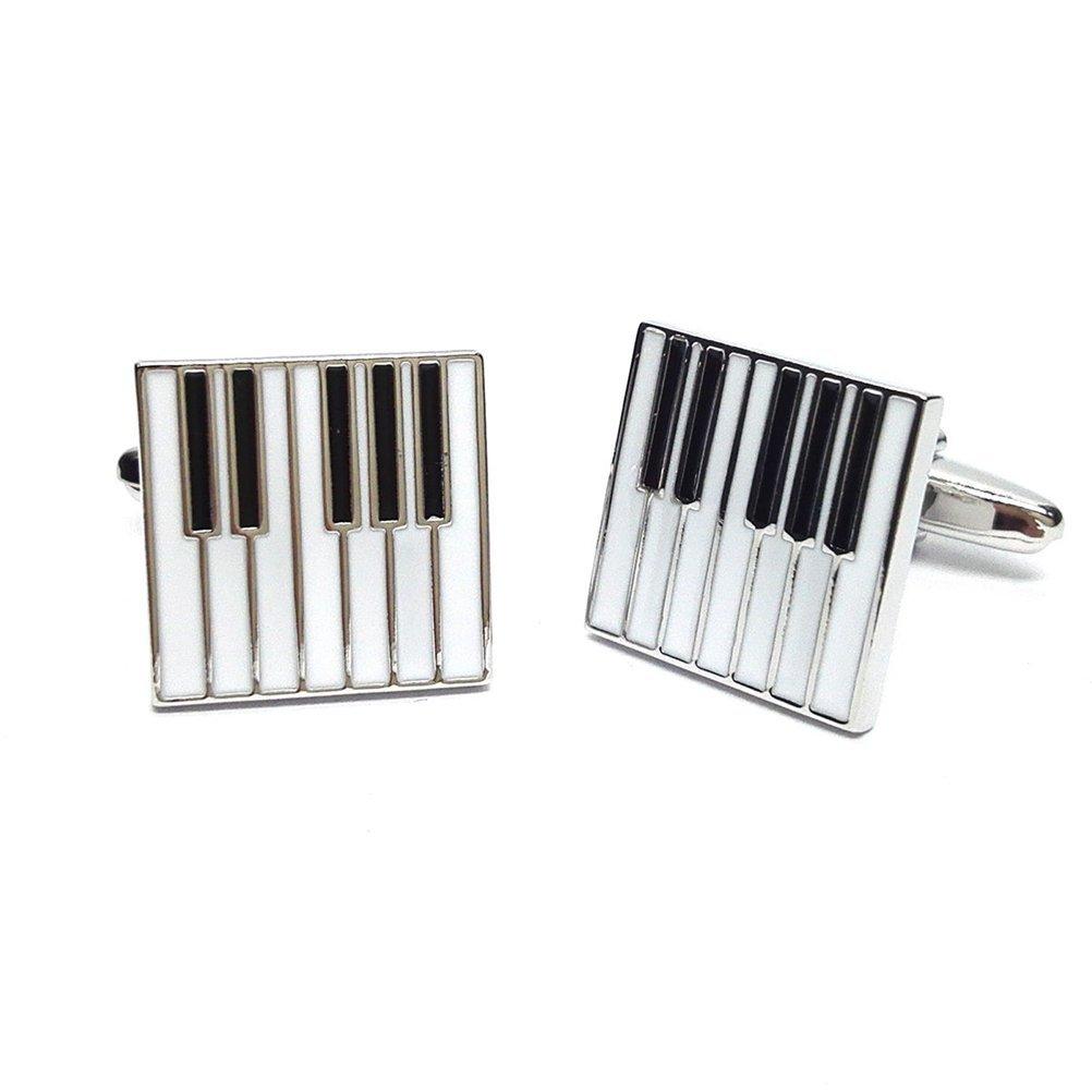 Piano Keys Cufflinks Gift Music Fan Cuff Links (White Silver)