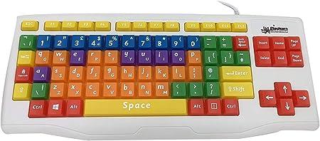 Playlearn - Teclado USB para Ordenador con Teclas QWERTY y minúsculas para niños y Personas con insuficiencia de Aprendizaje, con código de Colores