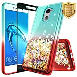 NageBee for Huawei Ascend XT 2 Case (H1711) w/ [Full Coverage Tempered Glass Screen Protector] Quicksand Liquid Floating Glitter Flowing Shiny Sparkle Bling Case for Huawei Elate 4G LTE - Teal/Red