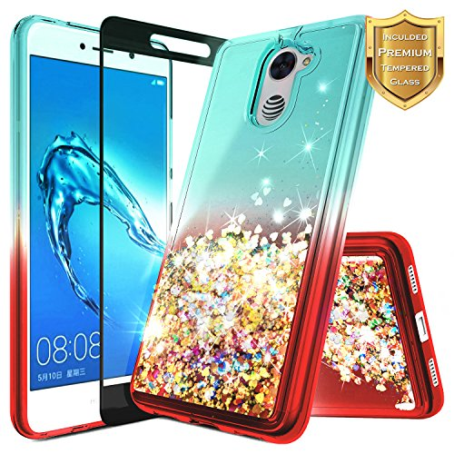 NageBee for Huawei Ascend XT 2 Case (H1711) w/ [Full Coverage Tempered Glass Screen Protector] Quicksand Liquid Floating Glitter Flowing Shiny Sparkle Bling Case for Huawei Elate 4G LTE - Teal/Red by NageBee