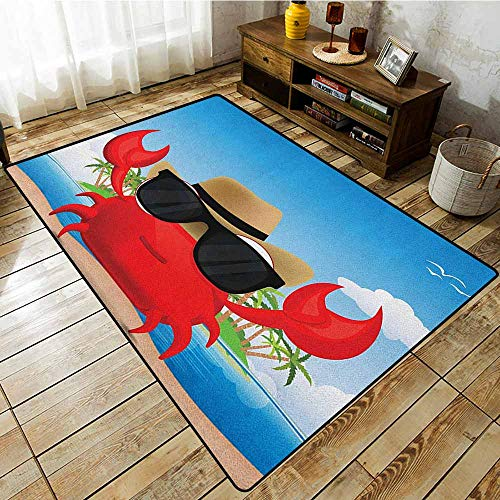 - Kids Rug,Crabs,Cool Crustacean with Black Sunglasses and a Hat Summer Vacation on Tropical Island,Ideal Gift for Children,5'10