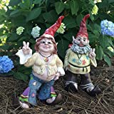 "1970's 15″H Hippie Dude ""Jerry G"" and Flower Child Chick ""Janice J"" Gnome Home and Garden Statue Figurine For Sale"