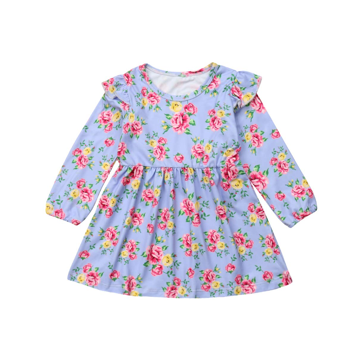 Purple, 4-5 T Guyay Newborn Infant Baby Girl Long Sleeve Floral Dress Toddler Ruffle Pleated Midi Dress