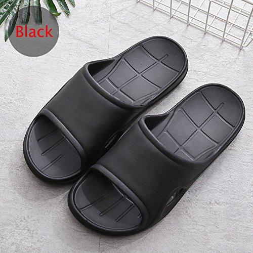 Sandal Home Black 40 House Anti for Men 10 Slipper 41 Indoor Uer US HAOJIALI Slip 9 Bath yHq06wBqz