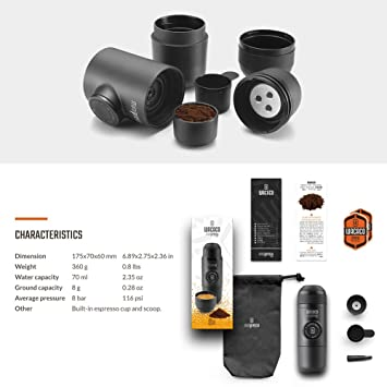 Wacaco Minipresso GR, máquina de café expreso portátil, café molido compatible, cafetera de viaje pequeña, operado manualmente a partir de la acción ...